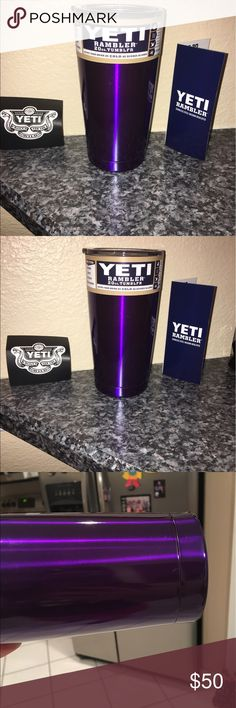 GORGEOUS purple 20oz Yeti cup! NWT BEAUTIFUL! Gorgeous purple 2oz Yeti cup! Brand new with tags. Never used! Do not wash custom yeti cups in the dishwasher.. only the lids or cups without color. This purple is absolutely Beautiful! I was trying to show the color in the pictures but pictures just don't do the cup justice!! It's SO very pretty! NWT  cheaper on merc! Other