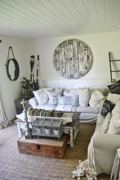 large clock over living room couch