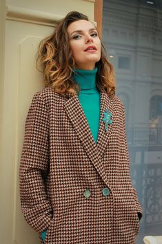 polo neck turquoise blazer check double breasted Полуоверсайз осенняя бирюза