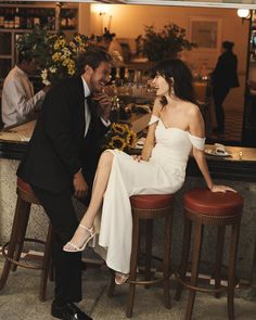We channeled that French je ne sais quoi and took our trendiest dresses to a bustling city for a Parisian chic wedding. Chic Wedding Dresses, Casual Wedding, Parisian Wedding Dress, French Wedding Dress, Elopement Dress, Before Wedding, Courthouse Wedding, Parisian Chic, Alternative Wedding