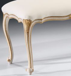 bench - carved bench - carved bench with antique white finish and antiqued gold leaf trim
