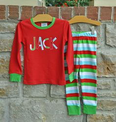 Personalized Red and White Striped Christmas Pajama Set ,,,Choose ...