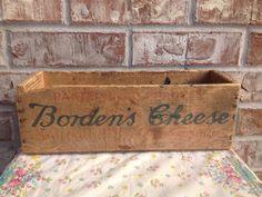 Vintage Borden Cheese Wooden Crate - Primitive Decor- Home Storage / Organization    on Etsy, $10.95