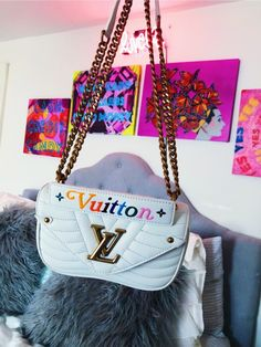 white and rainbow louis vuitton bag with gold logo Luxury Purses, Luxury Bags, Luxury Handbags, Handbags On Sale, Purses And Handbags, Sacs Design, Accesorios Casual, Cute Purses, Cute Bags