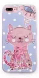Cute Pink Kitty Liquid Quicksand Soft Phone Case For iPhone 7 / 6 Models