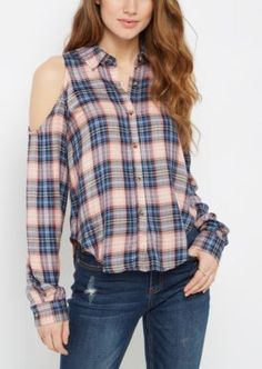 17deb57d6b675a Cold Shoulder Plaid Shirt By Sadie Roberston X Wild Blue