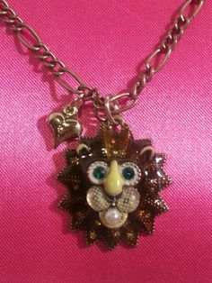 Betsey Johnson NWT Enamel Lion Head Face Animal Cat Gold Tone Necklace Gift Box #BetseyJohnson #Pendant