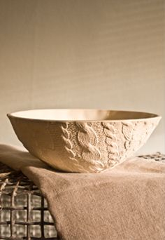 Handmade Ceramic Cable Knit Sweater Bowl.  Purl One!