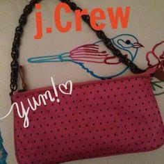 J.Crew silk polka dot bag NWOT J. Crew 100 percent silk pink and black polka dot bag with chain handle one inside pocket with zipper and zipper close J. Crew Bags