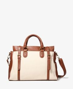 Buckled Canvas Satchel | FOREVER21