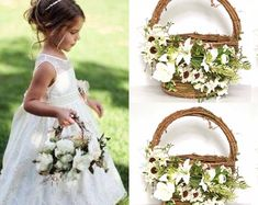 Flower girl basket - BellasBloomStudio Wedding Arch Rustic, Garland Wedding, Wedding Backdrops, Cheap Wedding Decorations, Wedding Centerpieces, Wedding Ideas, Diy Wedding, Flower Girl Basket, Flower Girls