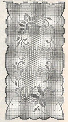 World crochet: Tablecloth 95 Filet Crochet Charts, Crochet Doily Patterns, Thread Crochet, Crochet Designs, Crochet Stitches, Cross Stitch Patterns, Knit Crochet, Crochet Table Runner Pattern, Crochet Tablecloth