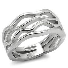 RIGHT HAND RING - Free Form Ring in High Polished Stainless Steel HopeChestJewelry. $8.49