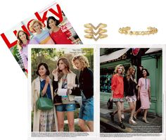 Lucky Magazine teams up with top fashion bloggers and we spy our Pyramid Stud Cuff &  Pave Chevron Ring - Gold by Stella & Dot