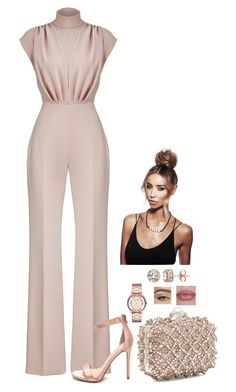 A fashion look from August 2017 featuring jump suit, heel pump and jimmy choo handbags. Browse and shop related looks. Classy Outfits, Chic Outfits, Fashion Outfits, Womens Fashion, Work Fashion, Fashion Looks, Modelos Fashion, Christian Siriano, Elegant Outfit