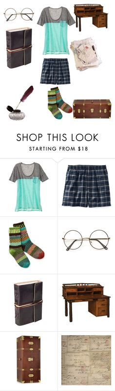 """letters home"" by sassyspoons ❤ liked on Polyvore featuring Lands' End, Sol Mate Socks, DutchCrafters, The Bridge and Andrew Martin"