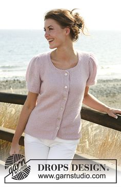 """Spring Romance - DROPS jacket in stocking st with short puff sleeves in """"Alpaca"""" and """"Kid-Silk"""". Size S-XXXL. - Free pattern by DROPS Design Knitting Machine Patterns, Knitting Stitches, Free Knitting, Drops Design, Cardigan Pattern, Top Pattern, Free Pattern, Short Sleeve Cardigan, Alpacas"""