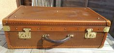 Art Deco Quality leather & cloth covered wood suitcase small trunk French made