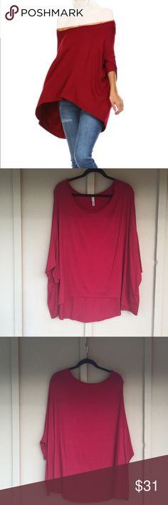 """Burgundy Off the Shoulder Hi-Low Top. - NWOT. - 95% Rayon. - 5% Spandex. - 34"""" long from high point of shoulder    to back hem. - Price Firm. - 🚫trades. Isaac Liev Tops Tunics"""