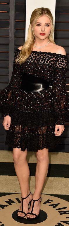 Who: Chloe Grace Moretz Wore: Alexander McQueen Where: 2015 Vanity Fair Oscar Party via @StyleList