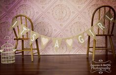 It's A Girl Burlap Banner / Baby Shower Decoration / Maternity Photography Prop.