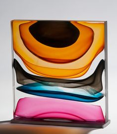 Infusion Block in Amber, Blue, and Ruby. Blown and Solid-Worked, Kiln-Cast, Cold-Worked Glass. Jamie Harris
