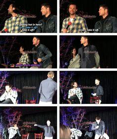 [gifset] Jensen and Jared at #SeaCon 2015 #StripperJensen