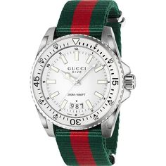 Gucci Men's YA136207 'Dive' Green and red Watch