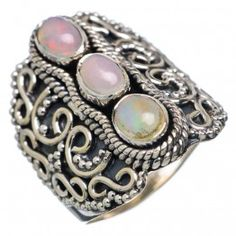 925 SOLID STERLING FINE SILVER   ETHIOPIAN OPAL RING