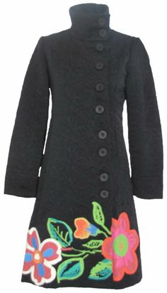 This Coat!!! Aliexpress.com : Buy desigual 01E2955 new free shipping trench print black coats for woman women's overcoat 36 38 40 44 Flowers outwear Patt...