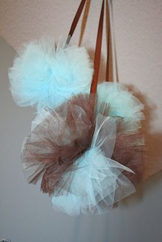 My Creative Way: How to make Tulle Pom Poms  Turquoise, pink, and orange