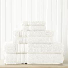 6 PC 100% TURKISH COTTON TOWEL SET - WHITE