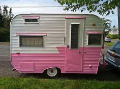 Cute pink retro camper