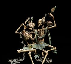 """Citipati, Lord of the Cemetery, is a Tibetan Buddhist figure which loosely represents intertwined male and female skeletons. These two androgynous figures which together form Citipati are considered to be guardians of cemeteries and are honored by semiannual ritualistic dances. As Citipati is comprised of the two halves of the human body, man and woman, the figure is also said to symbolize the counterparts of the human life cyle, birth and Death."""