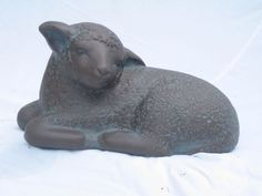 Bronze resin Garden Or Yard / Outside and Outdoor sculpture by artist Carol Acworth titled: 'Lamb (bronze resin Sleeping Resting garden Yard sculptures statues)'
