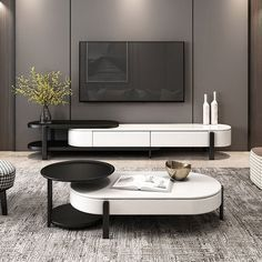 Coffee Table And Side Table Set, Oval Coffee Tables, Coffee Table With Storage, Side Tables, Plywood Furniture, Home Furniture, Modern Furniture, Furniture Design, Minimalist Furniture