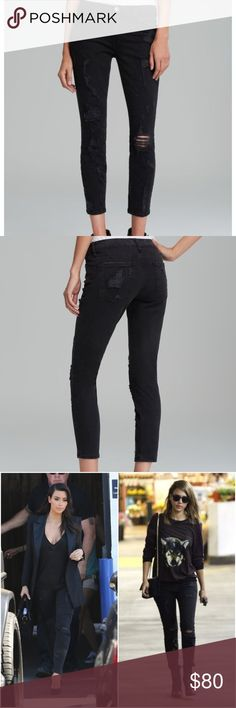 "Current/Elliott the Stiletto Jeans Black Shredded Current/Elliott the Stiletto Jeans in Black Shredded Color black (but more like a dark grey) Shredded holes throughout 5 pocket styling Button closure and zip fly Made in the USA Some minimal fading 98% cotton, 2% elastane  Measurements (approximate): Waist: 13.5"" Rise: 8"" Thigh: 8.5"" Inseam: 27""  No trades. Offers welcome! Current/Elliott Jeans Skinny"