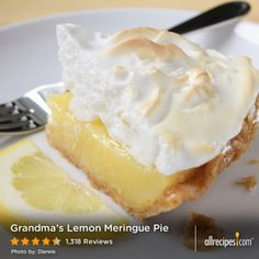 January 23: Pie Day | A slice of Grandma's Lemon Meringue Pie for dessert!