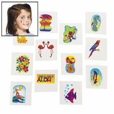 Tropical Glitter Tattoos - Novelty Jewelry & Tattoos & Body Art by Educational Products. $6.95. Tropical Glitter Tattoos. Add a touch of glitz to your hand arm or face! These shimmering tattoos come in a variety of fun Hawaiian designs including beach scenes and tropical animals. They're easy to apply and remove! Safe and non-toxic. (6 dozen per unit) 1 1/2 OTC - 3.2 ounces