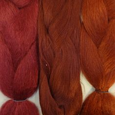 Kanekalon color comparison, from left to right: Burgundy, 35 Bright Auburn, 350 Rusty Red