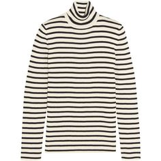 Saint Laurent Striped cotton and wool-blend sweater (8.257.560 IDR) ❤ liked on Polyvore featuring tops, sweaters, shirts, saint laurent, jumper, slim shirt, white sweater, slim fit shirts, white stripes shirt and white striped shirt