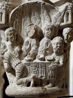 Capital representing scenes from Genesis: Abraham entertaining the Angels. Stone, northern Catalunya, late 12th century. From a Catalan cloister.