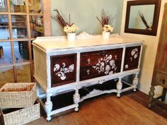 Antique chalk painted buffet - Martha Stewart Exotic Blooms Silk Screen Stencil
