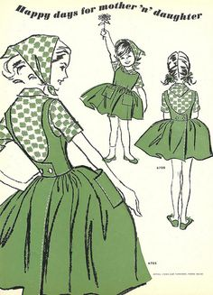 Cute matching mother and daughter fashions from 1963.
