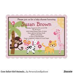 Cute Safari Girl Animals Baby Shower Invitation.  $2.45