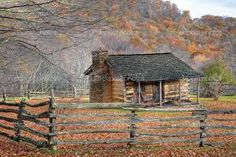 Photo about Beautiful Autumn scene showing rustic old log cabin surrounded by split rail fence. Image of chimney, autumn, front - 11669992 Brick Fence, Front Yard Fence, Fenced In Yard, Fence Stain, Concrete Fence, Farm Fence, Bamboo Fence, Cedar Fence, Fence Landscaping