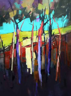 Tree Trunks in Colour-90x120cm - Sara Paxton Artworks