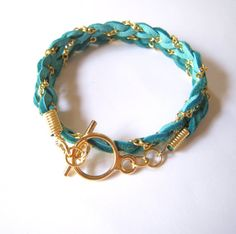 Green and Gold Chain Woven Bracelet  Pretty Summer by s3setag, $12.00