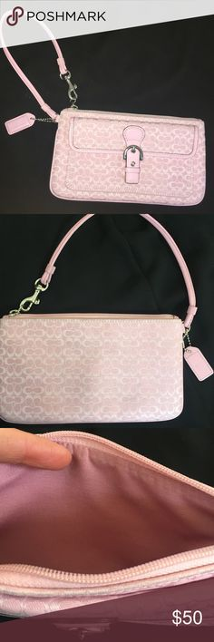 COACH Pink Signature Wristlet Wallet Handbag COACH. Pink Signature C Wristlet with wrist strap. Has zipper closure with snap closure pocket at front. Brand New. Coach Bags Clutches & Wristlets
