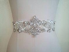 Amazon.com: Crystal and Rhinestone Beaded Applique Bridal Belt Wedding Sash Applique